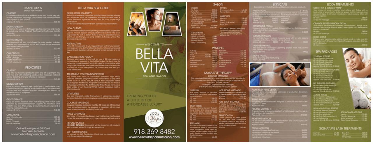 Bella Vita Spa & Salon Pricing
